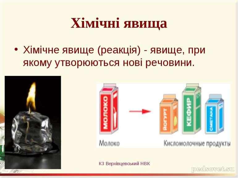 Хімічні явища Хімічне явище (реакція) - явище, при якому утворюються нові реч...