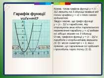 Гарафік функції y=(x+m)2 Графік функції у = (х + т)2 є параболою, яку отримую...
