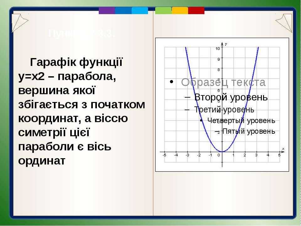 Гарафік функції y=x2-3 Графік функції у =х2-3 можна отримати за допомогою пар...
