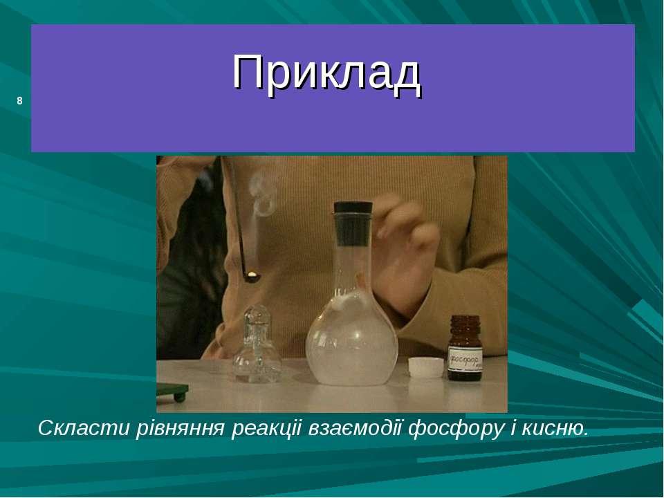 Приклад Скласти рівняння реакціі взаємодії фосфору і кисню. *