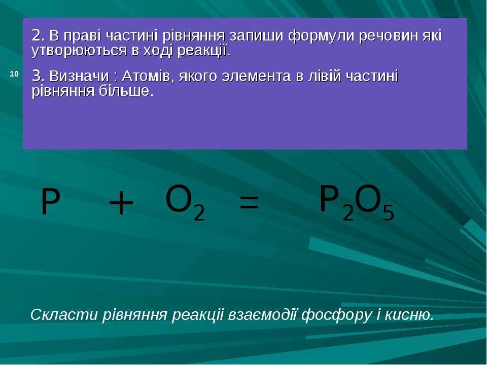 = 2. В праві частині рівняння запиши формули речовин які утворюються в ході р...