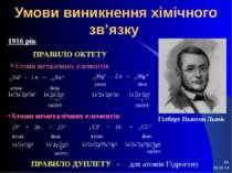 * * Умови виникнення хімічного зв'язку Гілберт Ньютон Льюіс 1916 рік ПРАВИЛО ...