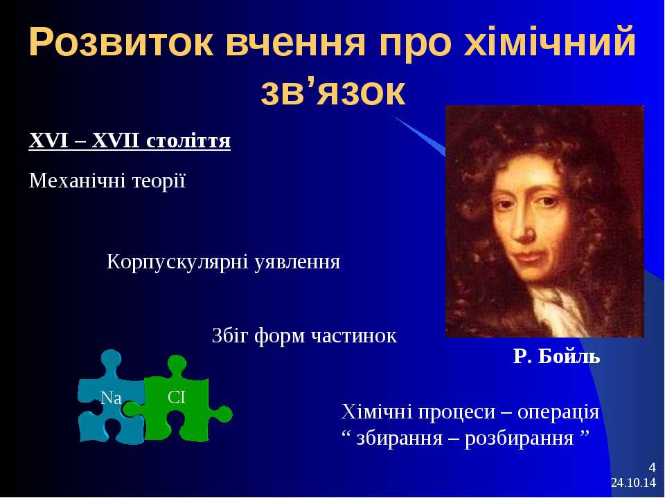 * * Розвиток вчення про хімічний зв'язок XVI – XVII століття Механічні теорії...