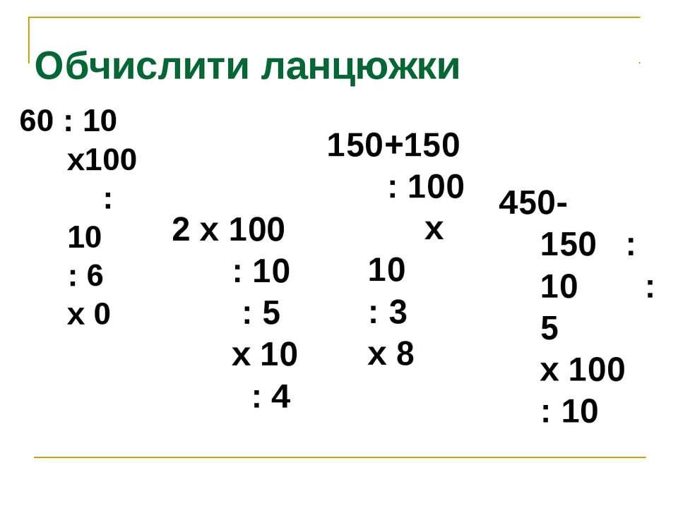 Обчислити ланцюжки 60 : 10 х100 : 10 : 6 х 0 2 х 100 : 10 : 5 х 10 : 4 150+15...