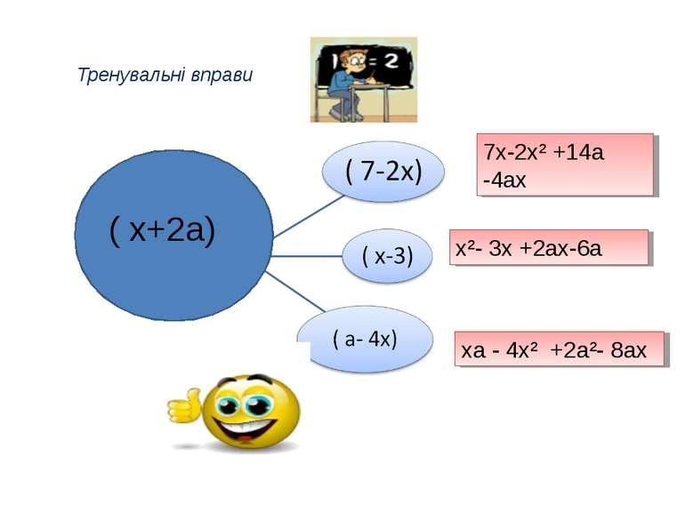 Тренувальні вправи ( х+2а) 7х-2х² +14а -4ах х²- 3х +2ах-6а ха - 4х² +2а²- 8ах