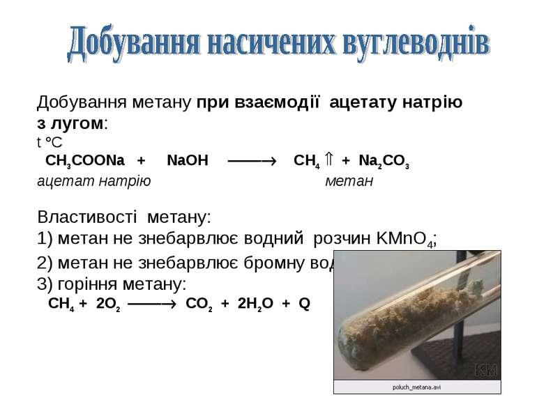 Добування метану при взаємодії ацетату натрію з лугом: t C CH3COONa + NaOH CH...