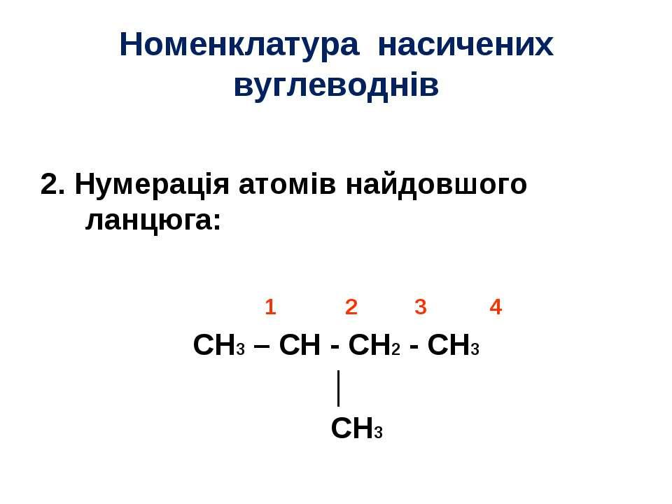 Номенклатура насичених вуглеводнів 2. Нумерація атомів найдовшого ланцюга: 1 ...