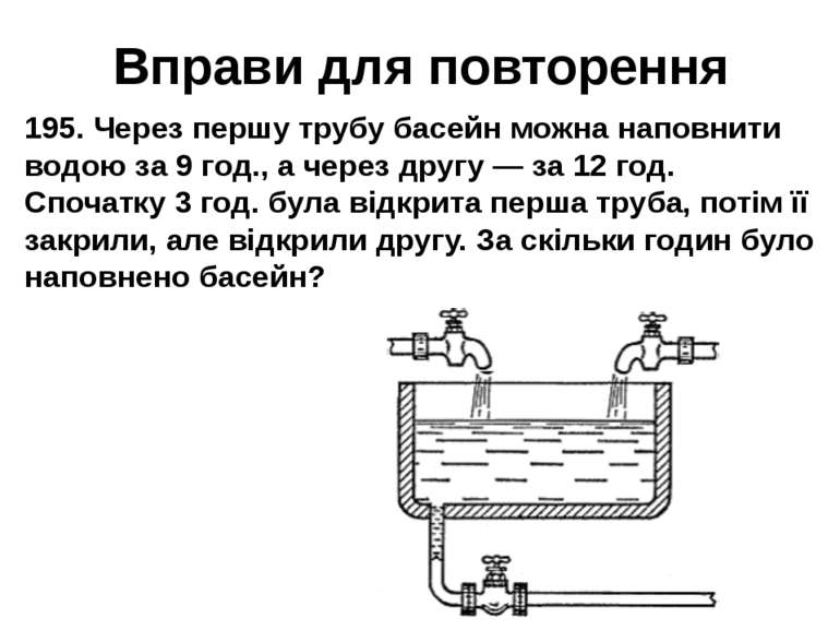 Вправи для повторення 195. Через першу трубу басейн можна наповнити водою за ...