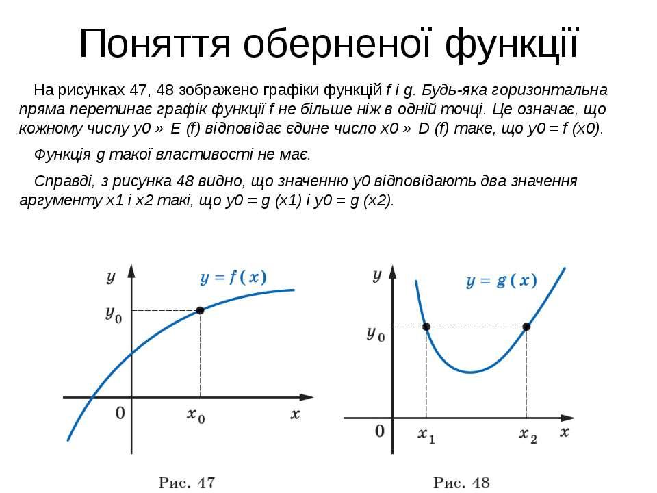 Поняття оберненої функції На рисунках 47, 48 зображено графіки функцій f і g....