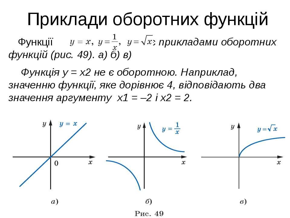 Приклади оборотних функцій Функції є прикладами оборотних функцій (рис. 49). ...