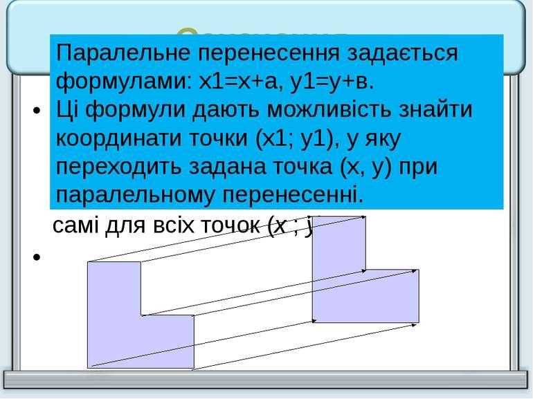 Означення. Паралельним перенесенням називають перетворення фігури F, при яком...