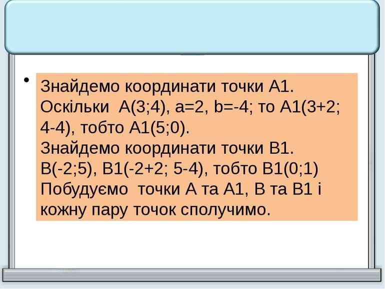 Паралельне перенесення задається формулами х1 = х + 2, у1 = у - 4. Знайти точ...
