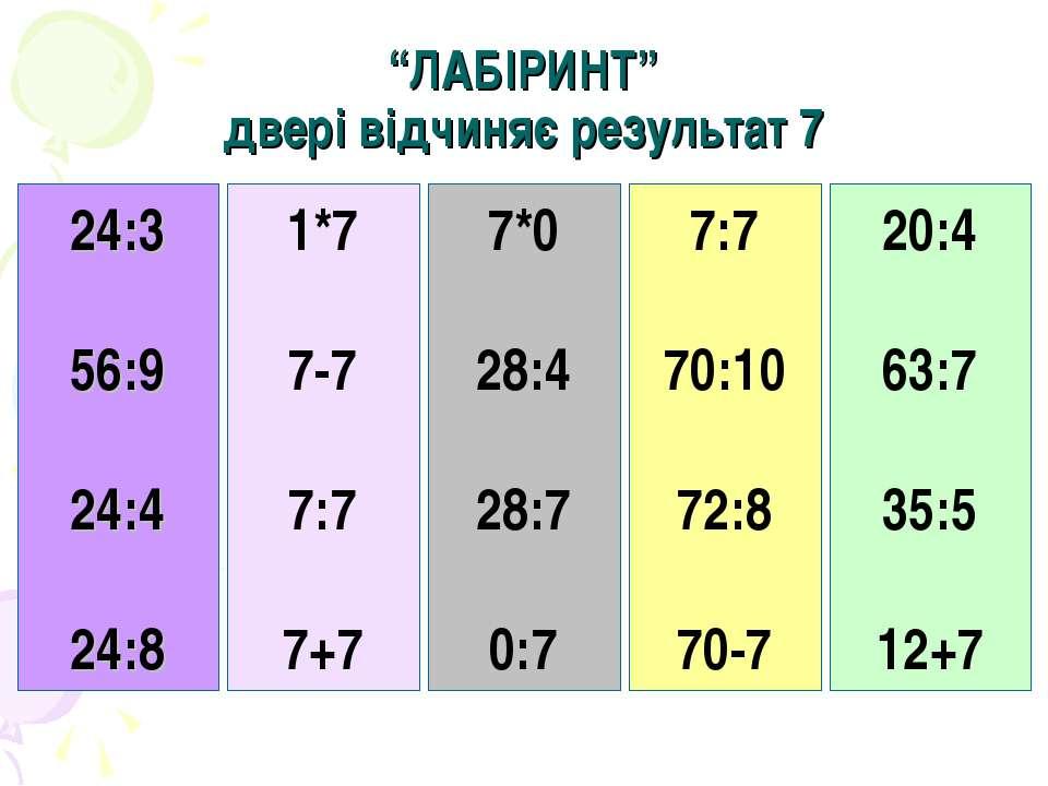 """""""ЛАБІРИНТ"""" двері відчиняє результат 7 24:3 56:9 24:4 24:8 1*7 7-7 7:7 7+7 7*0..."""