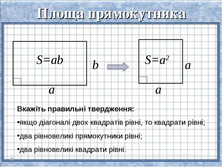 Площа прямокутника a b S=ab a a S=a2 Вкажіть правильні твердження: якщо діаго...