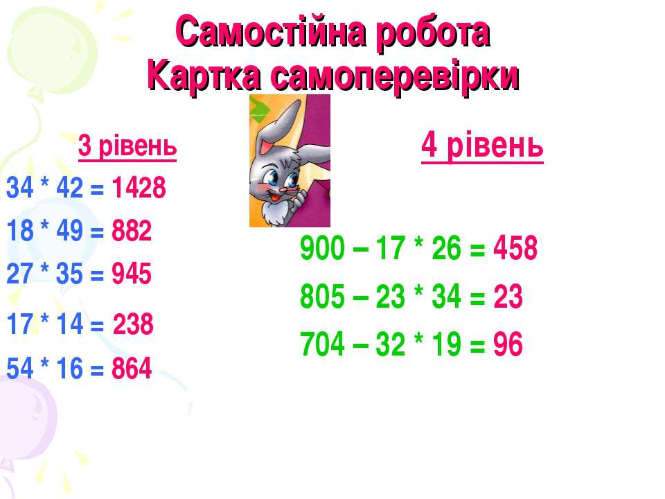 Самостійна робота Картка самоперевірки 3 рівень 34 * 42 = 1428 18 * 49 = 882 ...