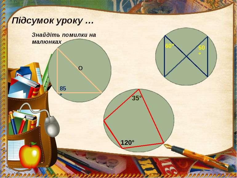 Підсумок уроку … Знайдіть помилки на малюнках О 85° 60° 50° 35° 120°