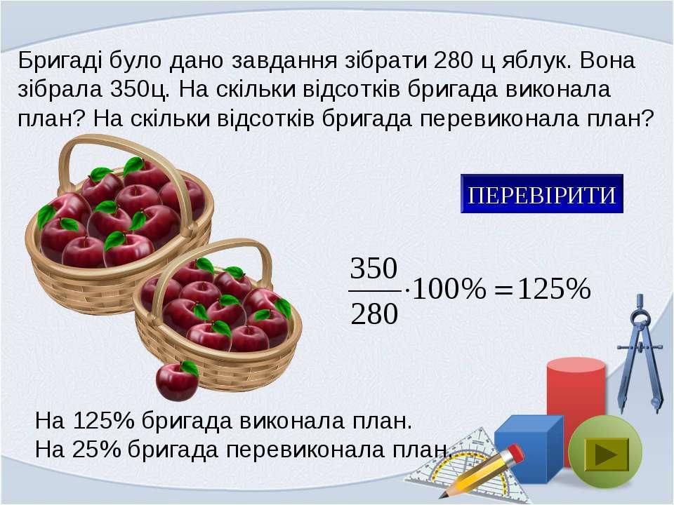 Бригаді було дано завдання зібрати 280 ц яблук. Вона зібрала 350ц. На скільки...
