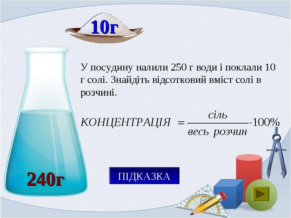 240г У посудину налили 250 г води і поклали 10 г солі. Знайдіть відсотковий в...