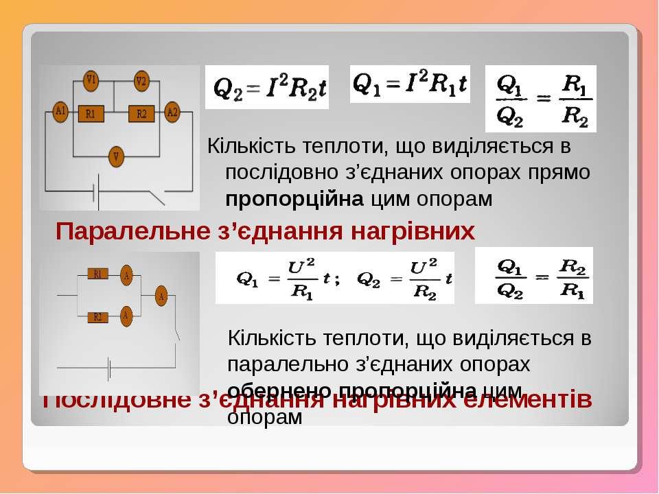 Послідовне з'єднання нагрівних елементів Кількість теплоти, що виділяється в ...