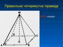 Правильна чотирикутна піраміда АВСD - квадрат