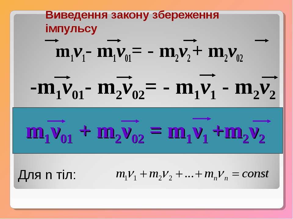 m1v1- m1v01= - m2v2 + m2v02 -m1v01- m2v02= - m1v1 - m2v2 m1ν01 + m2ν02 = m1ν1...