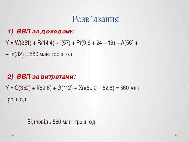 Розв'язання 1) ВВП за доходами: Y = W(351) + R(14,4) + i(57) + Pr(9,6 + 24 + ...