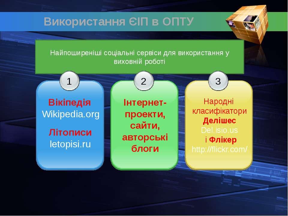 Найпоширеніші соціальні сервіси для використання у виховній роботі 1 Вікіпеді...
