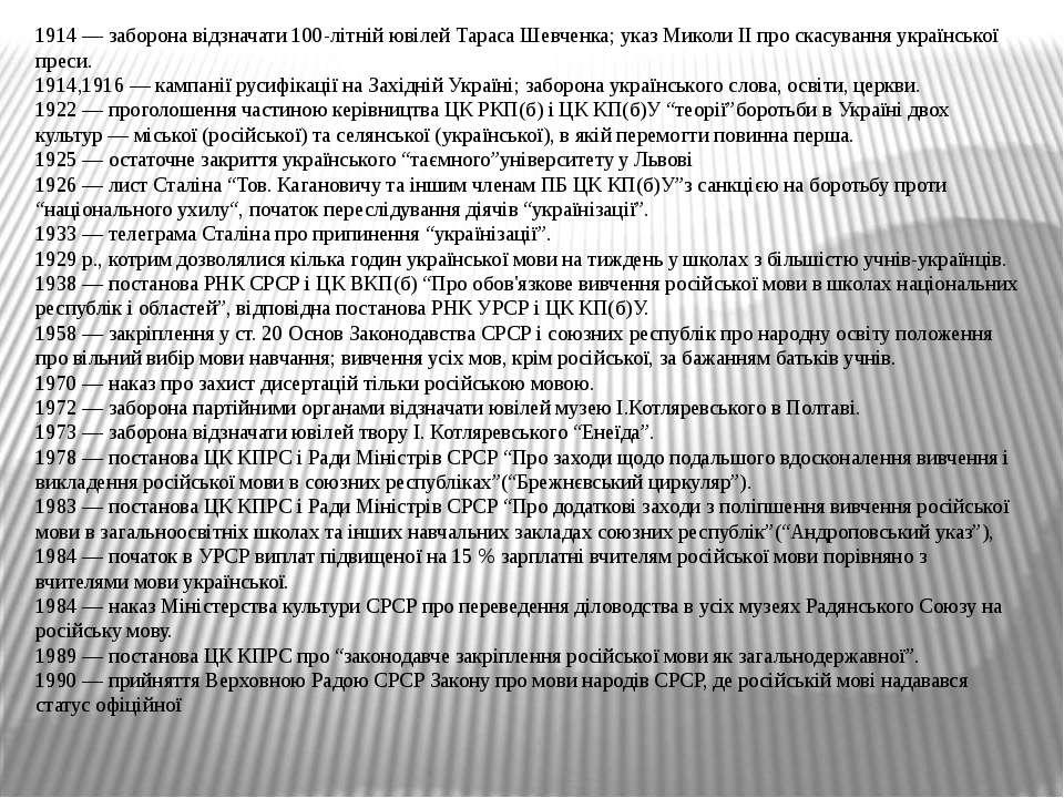 1914 — заборона відзначати 100-літній ювілей Тараса Шевченка; указ Миколи ІІ ...
