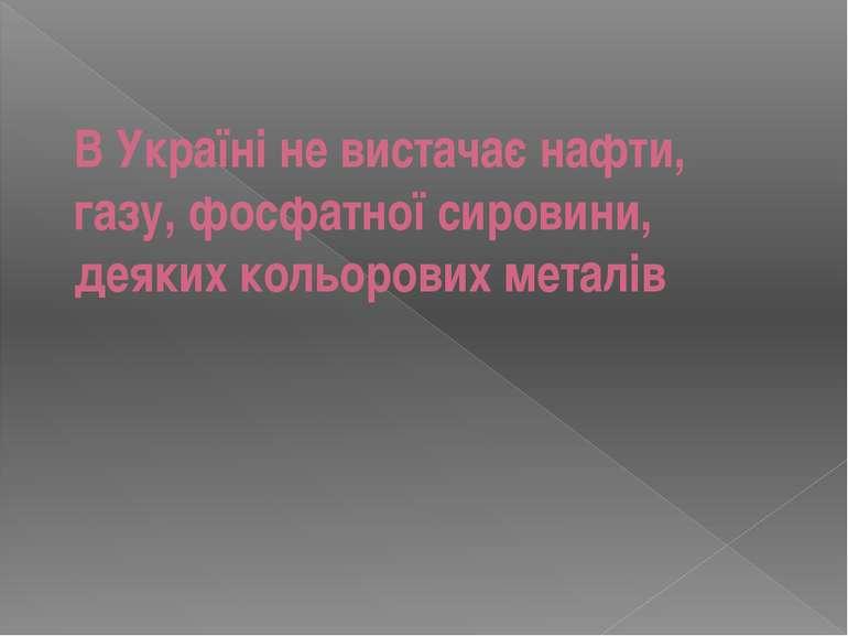 В Україні не вистачає нафти, газу, фосфатної сировини, деяких кольорових металів