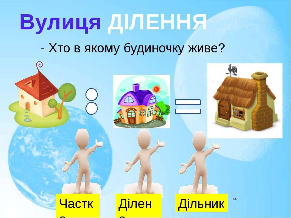 Вулиця ДІЛЕННЯ - Хто в якому будиночку живе? Частка Ділене Дільник