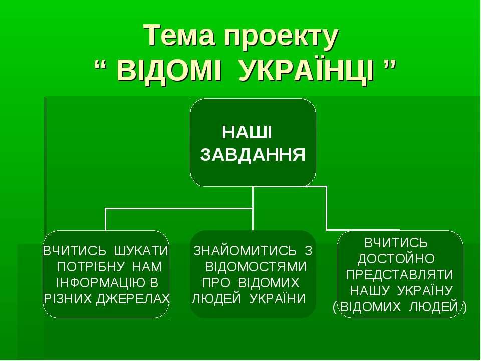 """Тема проекту """" ВІДОМІ УКРАЇНЦІ """""""