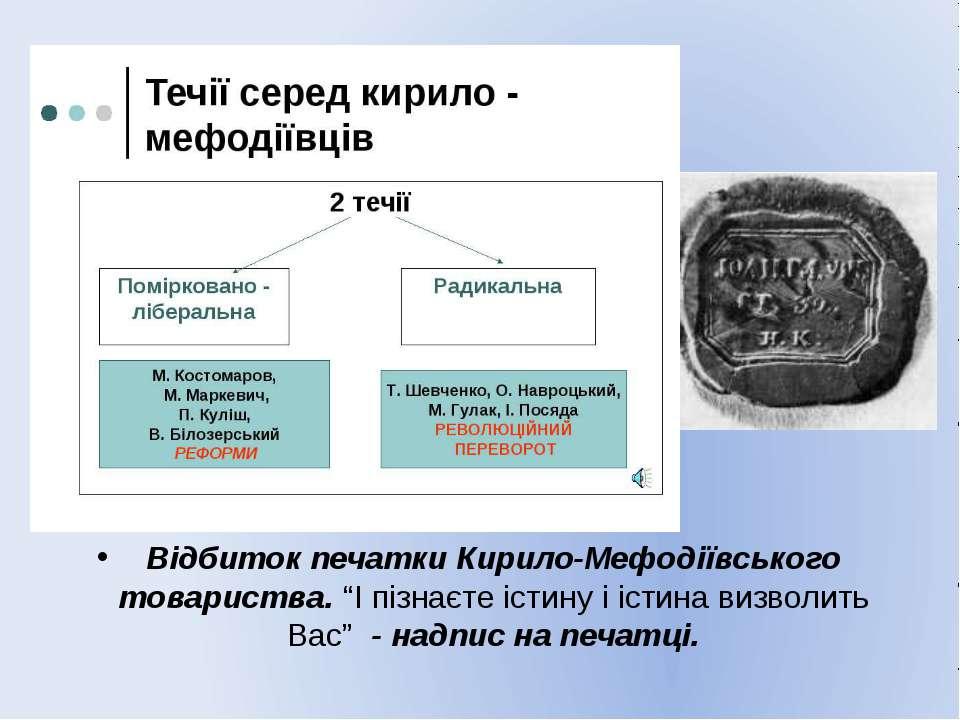 """Відбиток печатки Кирило-Мефодіївського товариства. """"І пізнаєте істину і істин..."""