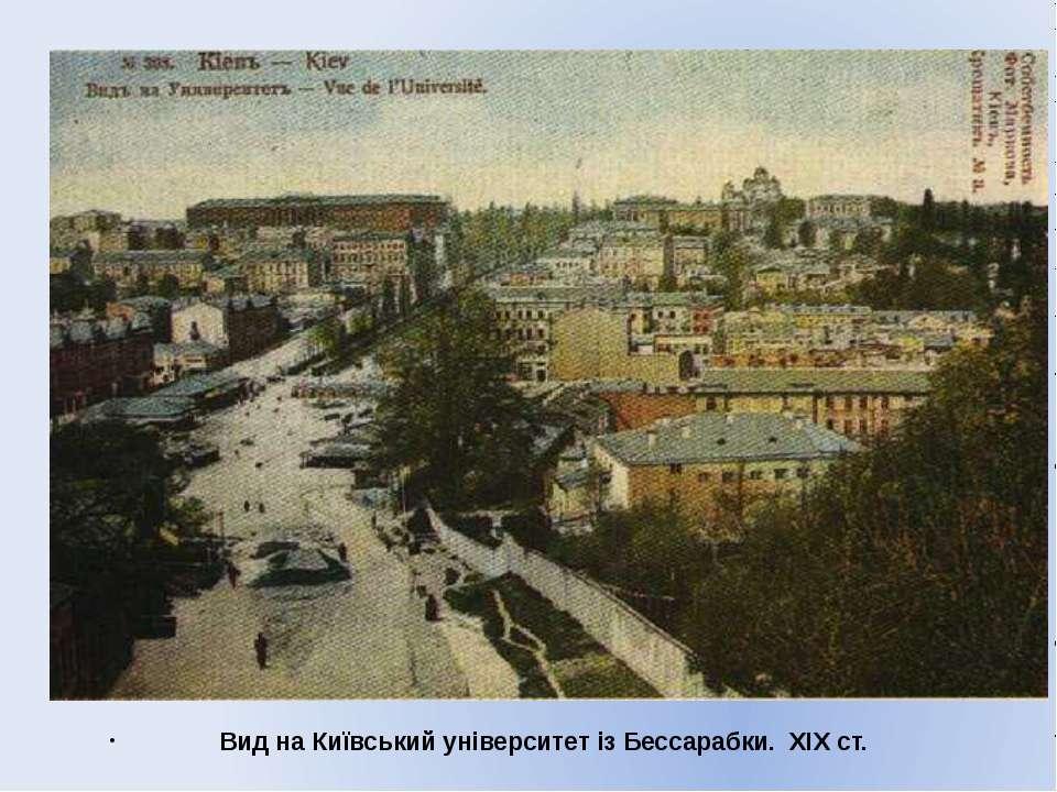 Вид на Київський університет із Бессарабки. XIX ст.