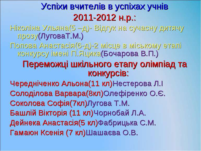 Успіхи вчителів в успіхах учнів 2011-2012 н.р.: Ніколіна Ульяна(5 –д)- Відгук...