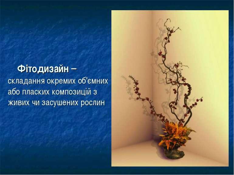 Фітодизайн – складання окремих об'ємних або пласких композицій з живих чи зас...