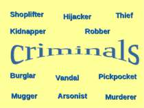 Burglar Kidnapper Hijacker Mugger Vandal Shoplifter Arsonist Thief Pickpocket...