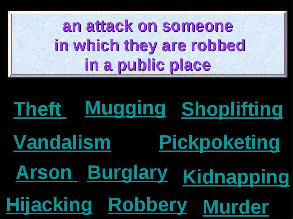 Murder Shoplifting Burglary Arson Kidnapping Pickpoketing Hijacking Robbery M...