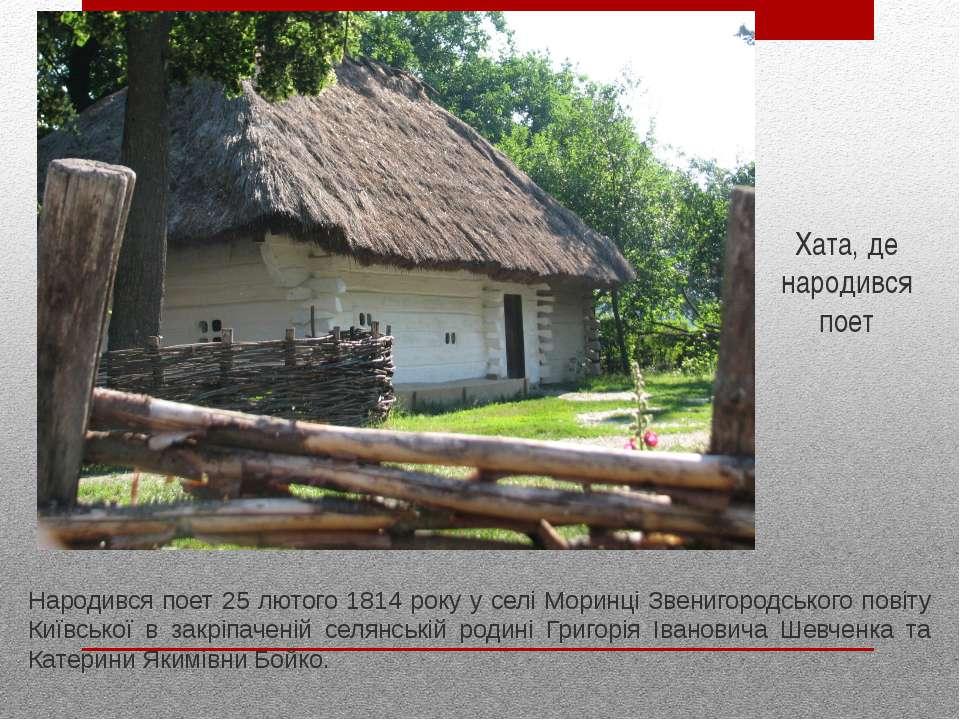 Народився поет 25 лютого 1814 року у селі Моринці Звенигородського повіту Киї...