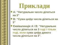 """Приклади А: """"Натуральне число ділиться на 3"""" В: """"Сума цифр числа ділиться на ..."""