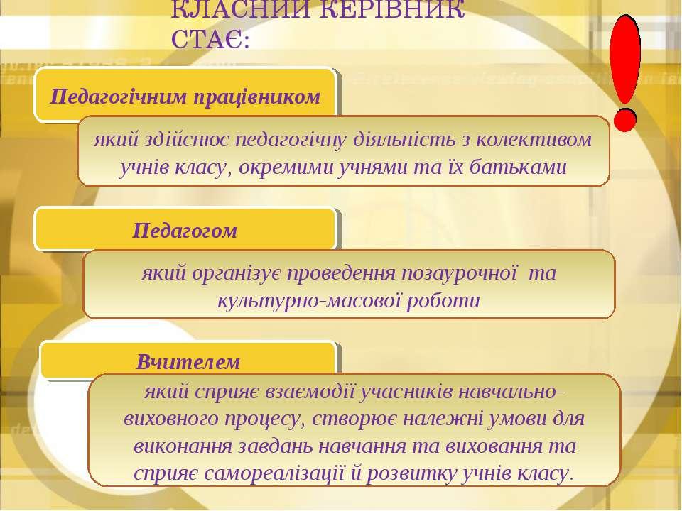 КЛАСНИЙ КЕРІВНИК СТАЄ: Вчителем який сприяє взаємодії учасників навчально-вих...