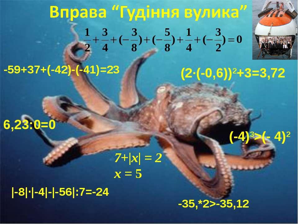 7+|х| = 2 х = 5 |-8|·|-4|-|-56|:7=-24 -59+37+(-42)-(-41)=23 -35,*2>-35,12 (2·...