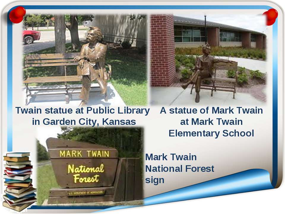 Twain statue at Public Library in Garden City, Kansas Mark Twain National For...