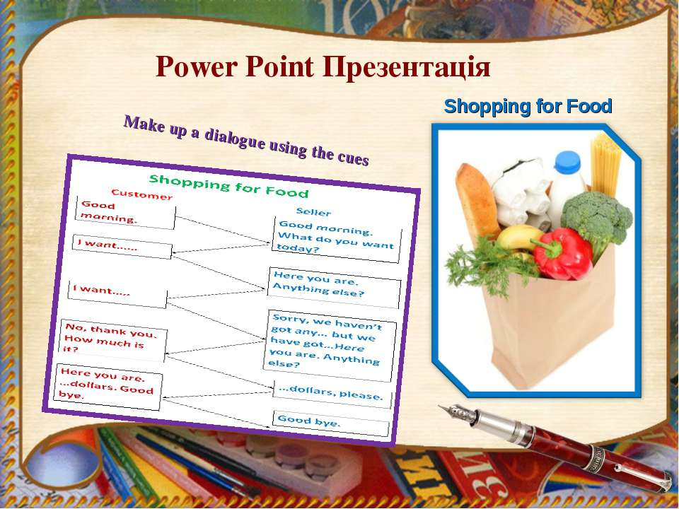 Power Point Презентація Shopping for Food Make up a dialogue using the cues