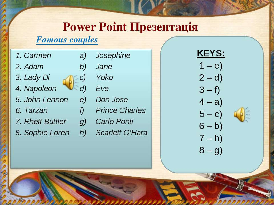 Power Point Презентація Famous couples 1. Carmen 2. Adam 3. Lady Di 4. Napole...