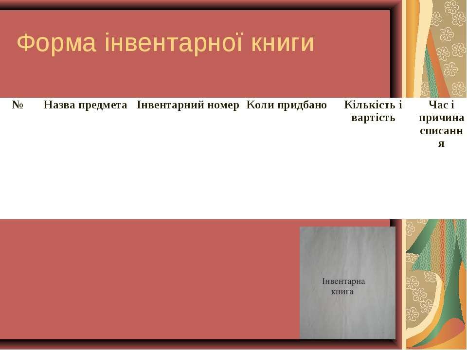 Форма інвентарної книги № Назва предмета Інвентарний номер Коли придбано Кіль...