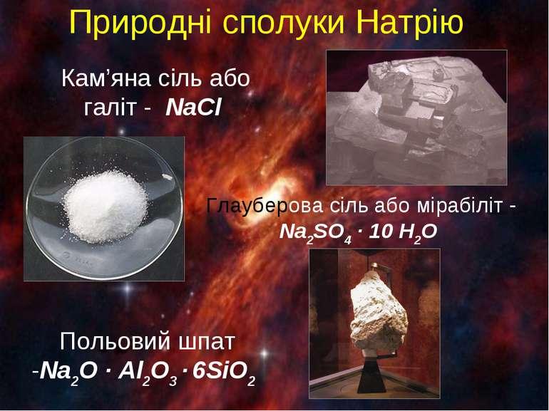 Природні сполуки Натрію Кам'яна сіль або галіт - NaCl Глауберова сіль або мір...