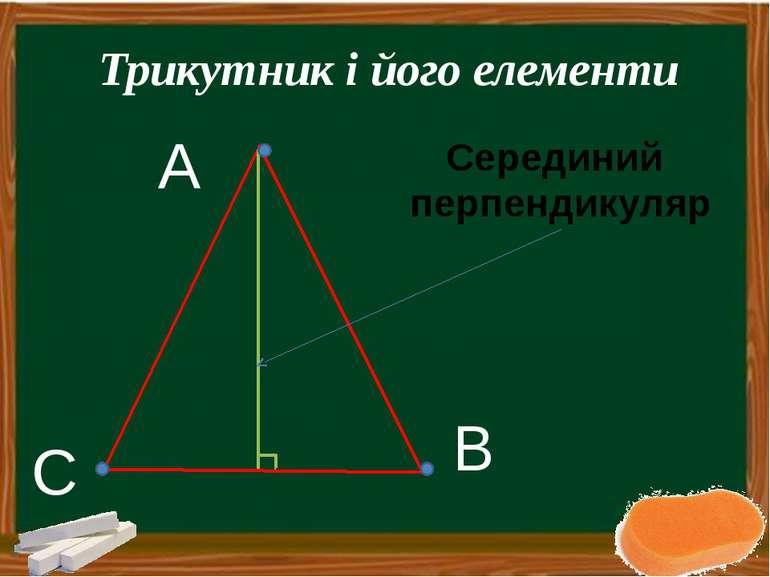 Серединий перпендикуляр А B C Трикутник і його елементи Макаренко І.Л. КЗШ № 31