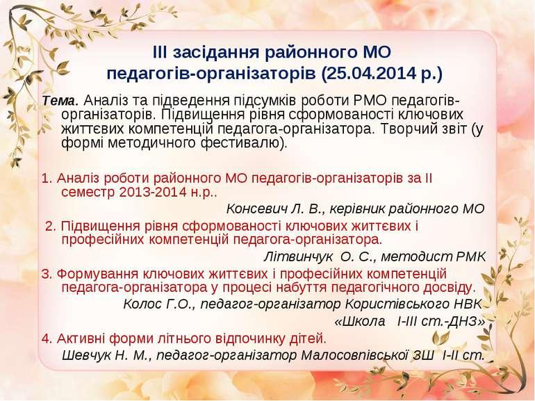 ІІІ засідання районного МО педагогів-організаторів (25.04.2014 р.) Тема. Анал...