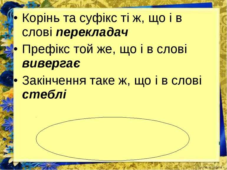 Корінь та суфікс ті ж, що і в слові перекладач Префікс той же, що і в слові в...