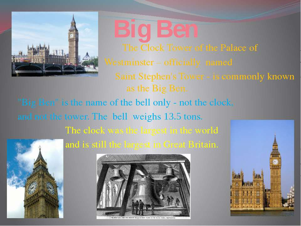Big Ben The Clock Tower of the Palace of Westminster – officially named Saint...
